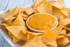 Nachos with Cheese Dip Royalty Free Stock Photography