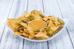 Nachos with Cheese Dip Stock Photography