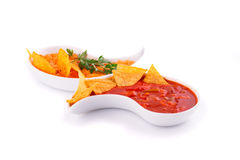 Nachos, cheese and red sauce Royalty Free Stock Photography