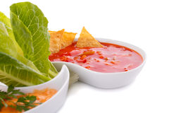 Nachos, cheese and red sauce,  vegetables Stock Image