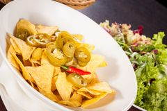 Nachos with cheese sauce and chilli pepperoni Stock Photography