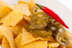 Nachos with cheese sauce and chilli pepperoni Royalty Free Stock Images