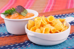 Nachos and cheese sauce Royalty Free Stock Photos