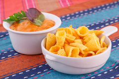 Nachos and cheese sauce Royalty Free Stock Images