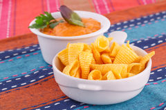 Nachos and cheese sauce Royalty Free Stock Photography