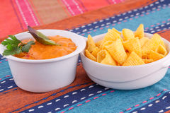 Nachos and cheese sauce Stock Photos
