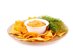 Nachos and cheese sauce Royalty Free Stock Image