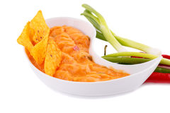 Nachos, cheese sauce,  vegetables Stock Images