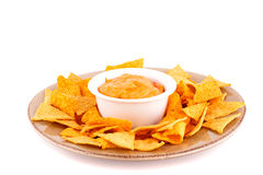 Nachos and cheese sauce Stock Photography