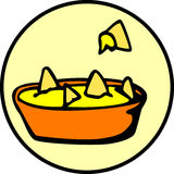 Nachos with cheese snack. Vector file available. Illustration of a bowl of nachos with cheese snack. Vector file available in EPS format Stock Images