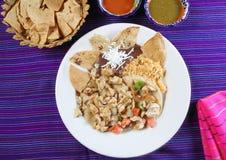 nachos chili цыпленка мексиканские sauce tacos типа Стоковое Фото