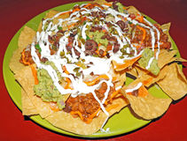 Nachos with chili beans Royalty Free Stock Image