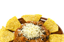 Nachos and chili con carne Stock Photos