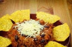 Nachos and chili con carne Stock Photos