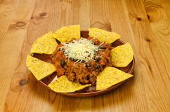 Nachos and chili con carne Stock Photography