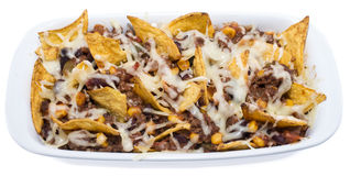 Nachos with Chili con Carne on white stock photography