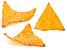 Nachos chips. Isolated on white background Stock Photos