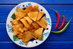 Nachos chips and chili peppers mexican food Stock Image