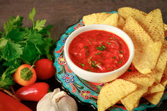 Nachos chips and red salsa Royalty Free Stock Photos