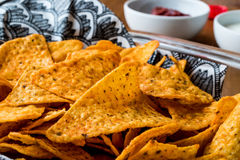Nachos chips with salsa and sour cream dips / Yogurt Sauce. Royalty Free Stock Images