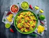 Nachos com queijo, pimentas do jalapeno, a cebola vermelha, a salsa, o tomate, a salsa, o molho do guacamole e o tequila na placa Imagem de Stock Royalty Free