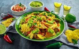 Nachos com queijo, pimentas do jalapeno, a cebola vermelha, a salsa, o tomate, a salsa, o molho do guacamole e o tequila na placa Imagens de Stock Royalty Free