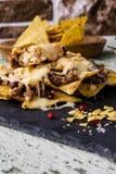 Nachos con carne de vaca Fotos de archivo libres de regalías