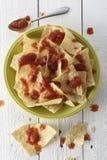 Nachos con los microprocesadores y la salsa de tortilla imagen de archivo