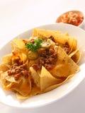Nachos con manzo & formaggio Immagini Stock