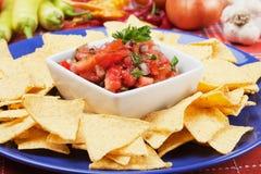Nachos corn chip and fresh salsa. Nachos corn chips with fresh homemade salsa royalty free stock photos