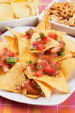Nachos corn chip and fresh salsa Stock Photo