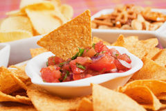 Nachos corn chip and fresh salsa. Nachos corn chips with fresh homemade salsa royalty free stock photography