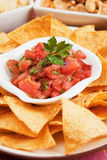 Nachos corn chip and fresh salsa Stock Photography