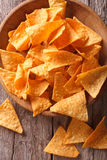 Nachos corn chips in the bowl close-up. vertical top view Stock Images