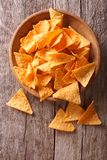 Nachos corn chips in the bowl on the table. vertical view above Royalty Free Stock Photo