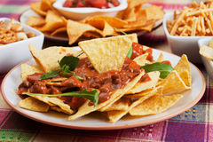 Nachos, corn chips with chili sauce Stock Photography