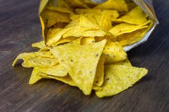 Nachos corn chips with classic tomato salsa. Fresh cold beer is perfect with savory snacks.  Stock Image