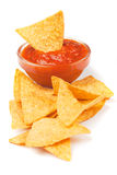 Nachos, corn chips with fresh salsa Stock Images