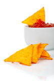 Nachos corn chips with fresh salsa Stock Photos