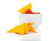 Nachos corn chips with fresh salsa Stock Photo