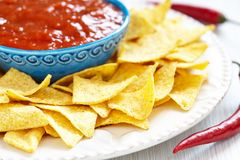 Nachos corn chips with fresh salsa Stock Photos