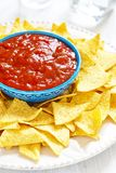 Nachos corn chips with fresh salsa Royalty Free Stock Photo
