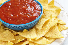 Nachos corn chips with fresh salsa Stock Photo