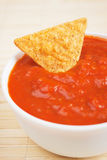 Nachos corn chips with homemade salsa Royalty Free Stock Photography