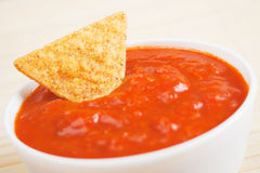 Nachos corn chips with homemade salsa Royalty Free Stock Photos