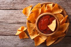 Nachos corn chips with sauce on the plate. horizontal top view Royalty Free Stock Photography