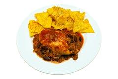 Nachos del queso de los chiles del pollo y de la carne de vaca Foto de archivo
