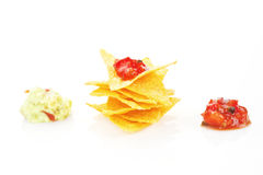 Nachos with dip isolated. Stock Image