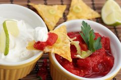 Nachos and dips closeup Royalty Free Stock Photos