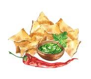 Nachos e guacamole Alimento nacional mexicano ilustração royalty free